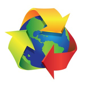 earth with a three arrow recycle symbol